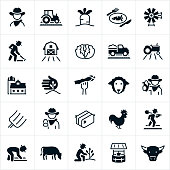 A set of farming and agriculture icons. The icons include farmers, tractor, crops, vegetables, windmill, barn, agricultural field, lettuce, work truck, silo, asparagus, sheep, corn, pitchfork, hay, chicken, cow, bull, well and other related icons.