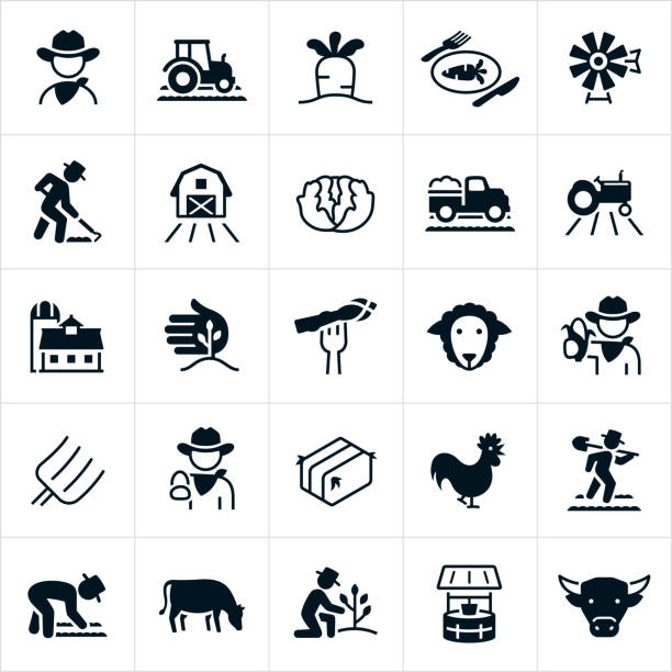 illustrazioni stock, clip art, cartoni animati e icone di tendenza di farming and agriculture icons - farmer