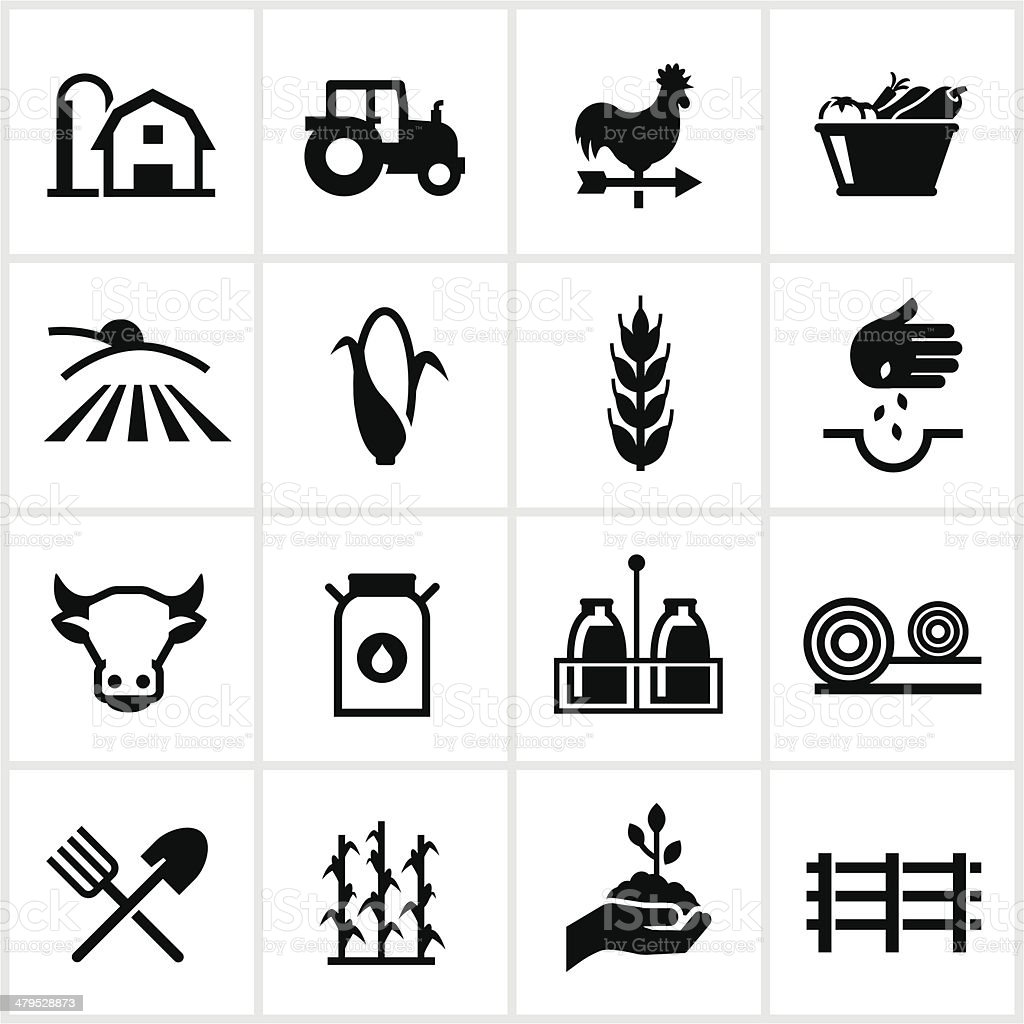 Farming and Agriculture Icons royalty-free stock vector art