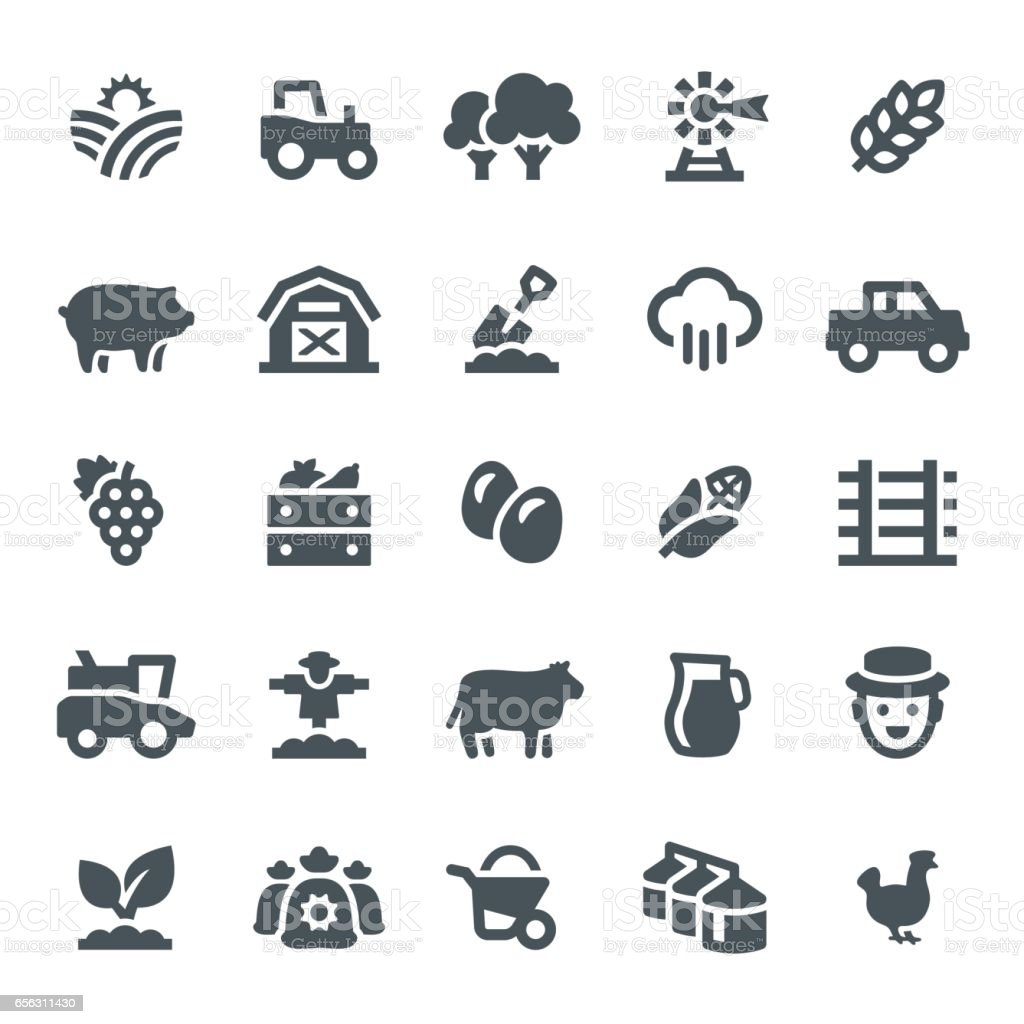 Farming and Agriculture Icons - illustrazione arte vettoriale