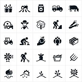 A set of single color farming and agriculture icons. The icons include farming, farmer, cowboy, crops, tractor, honey, farm truck, cow, livestock, apple tree, farmer working, growing, cultivating, asparagus, artichoke, hay bale, windmill, carrots, vegetables, pitch fork and planting to name a few.