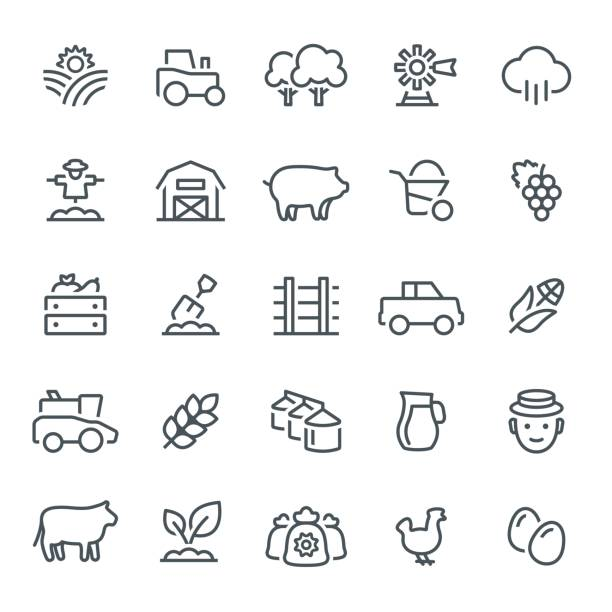Farming and Agriculture Icons vector art illustration
