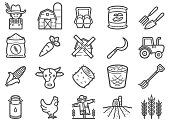 Farming and Agriculture Line Icons Set