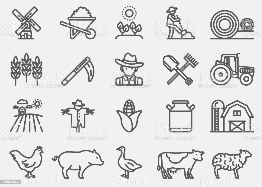 Farming and Agriculture Line Icons vector art illustration
