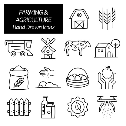 Farming and Agriculture Related Hand Drawn Icons, Doodle Elements Vector Illustration