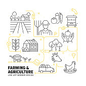 Farming and Agriculture Related Modern Line Style Vector Illustration