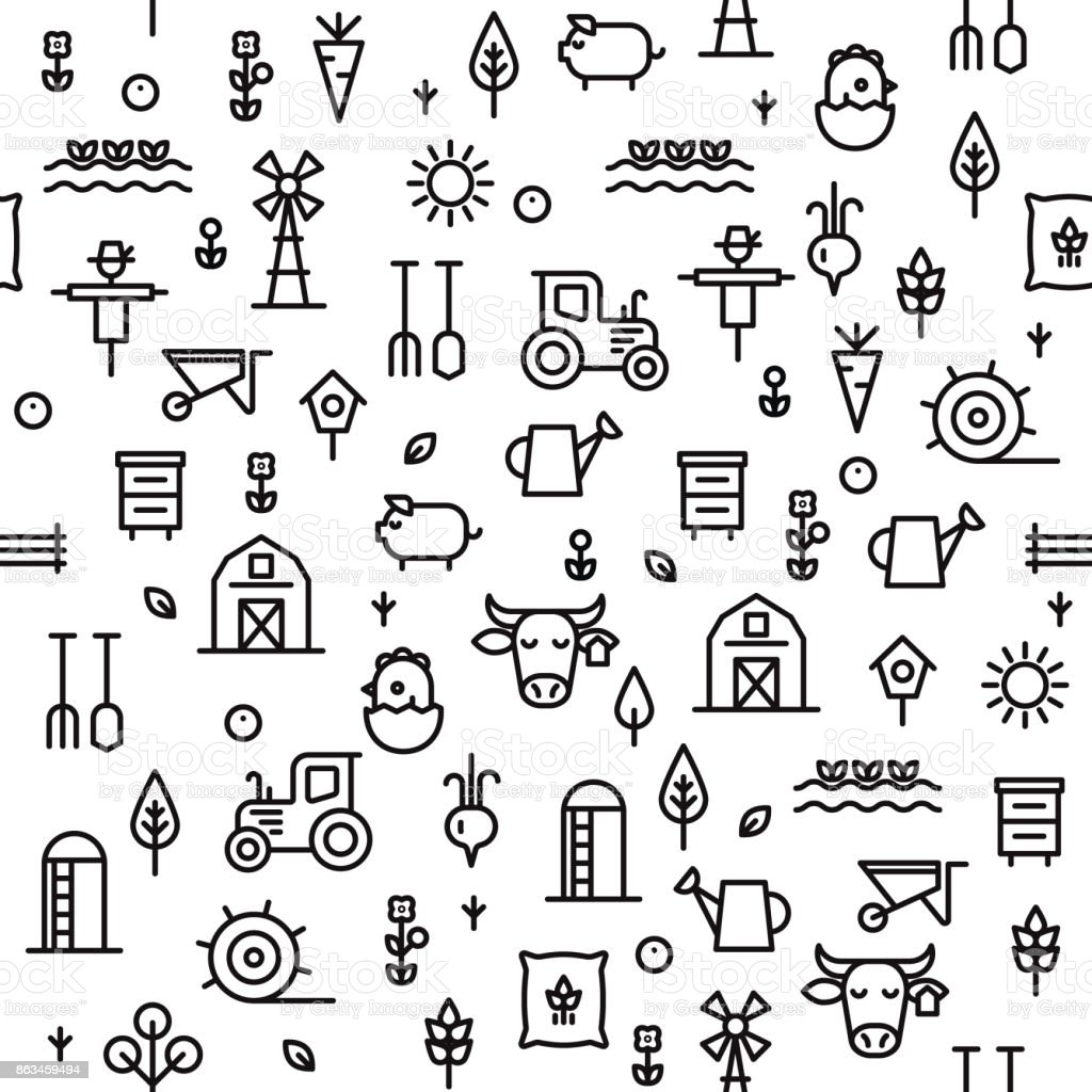 Farming and agriculture seamless pattern. vector art illustration