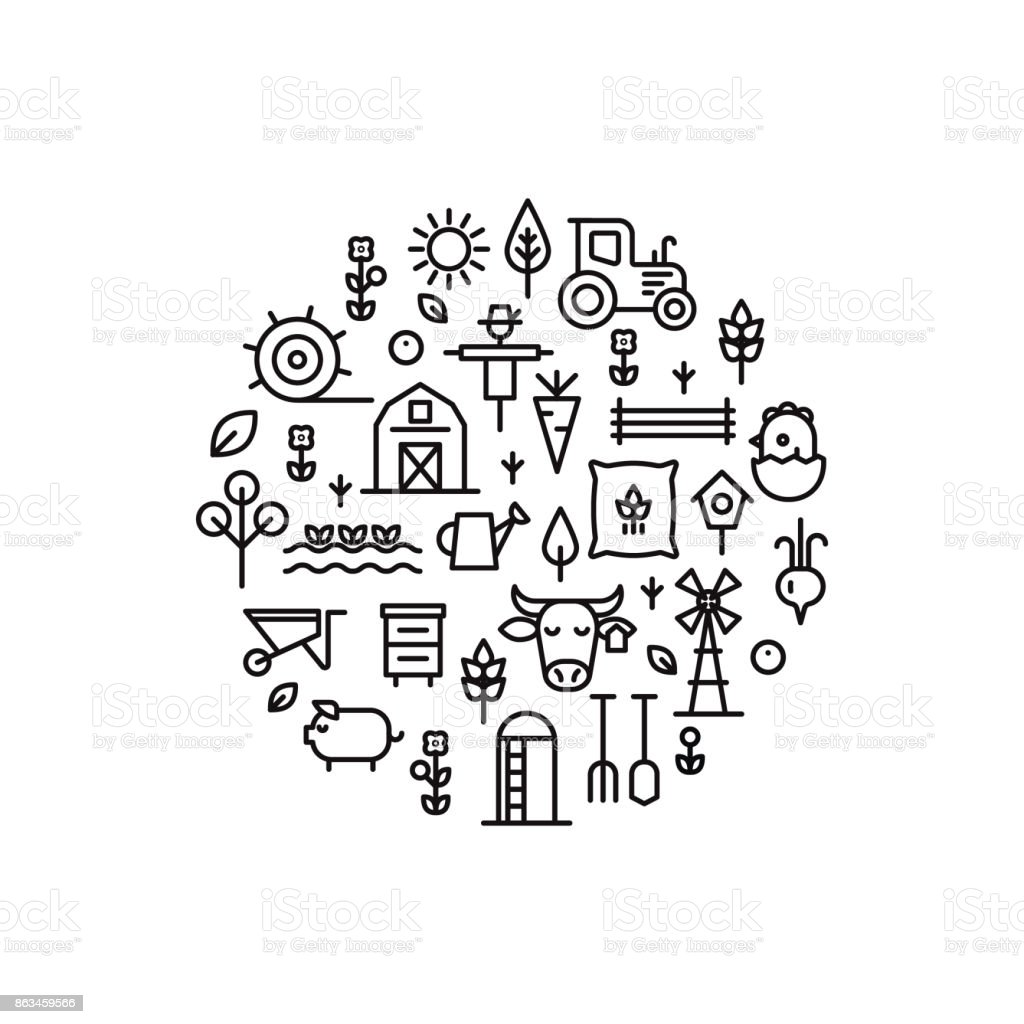 Farming and agriculture thin line concept. vector art illustration