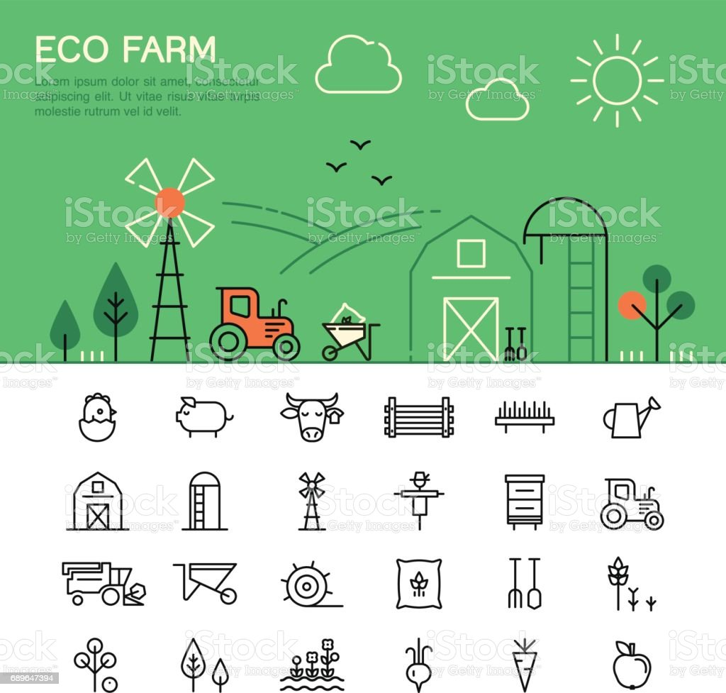 Farming and agriculture thin line icons. vector art illustration