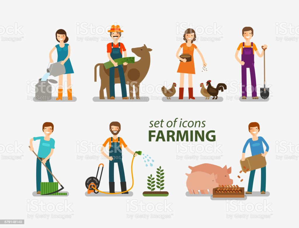 Farming and cattle breeding set of icons. People at work ベクターアートイラスト