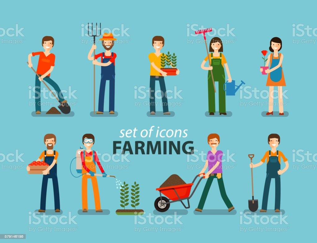 Farming and gardening icon set. People at work on the - ilustración de arte vectorial