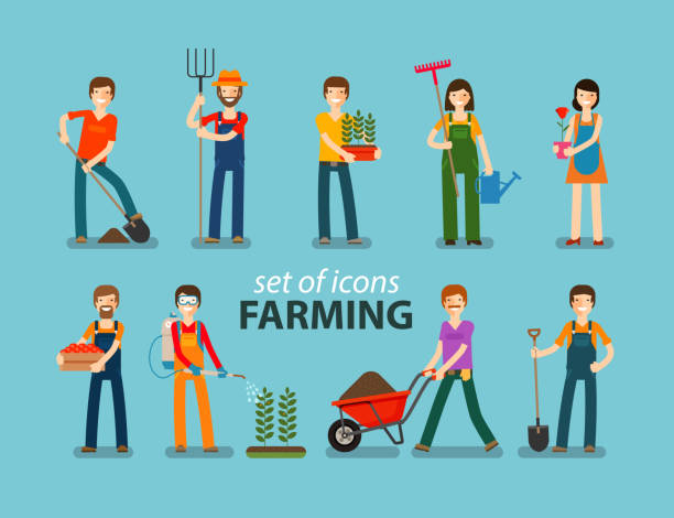 Farming and gardening icon set. People at work on the Farming, gardening icon set. People at work on the farm. Vector illustration farmer stock illustrations