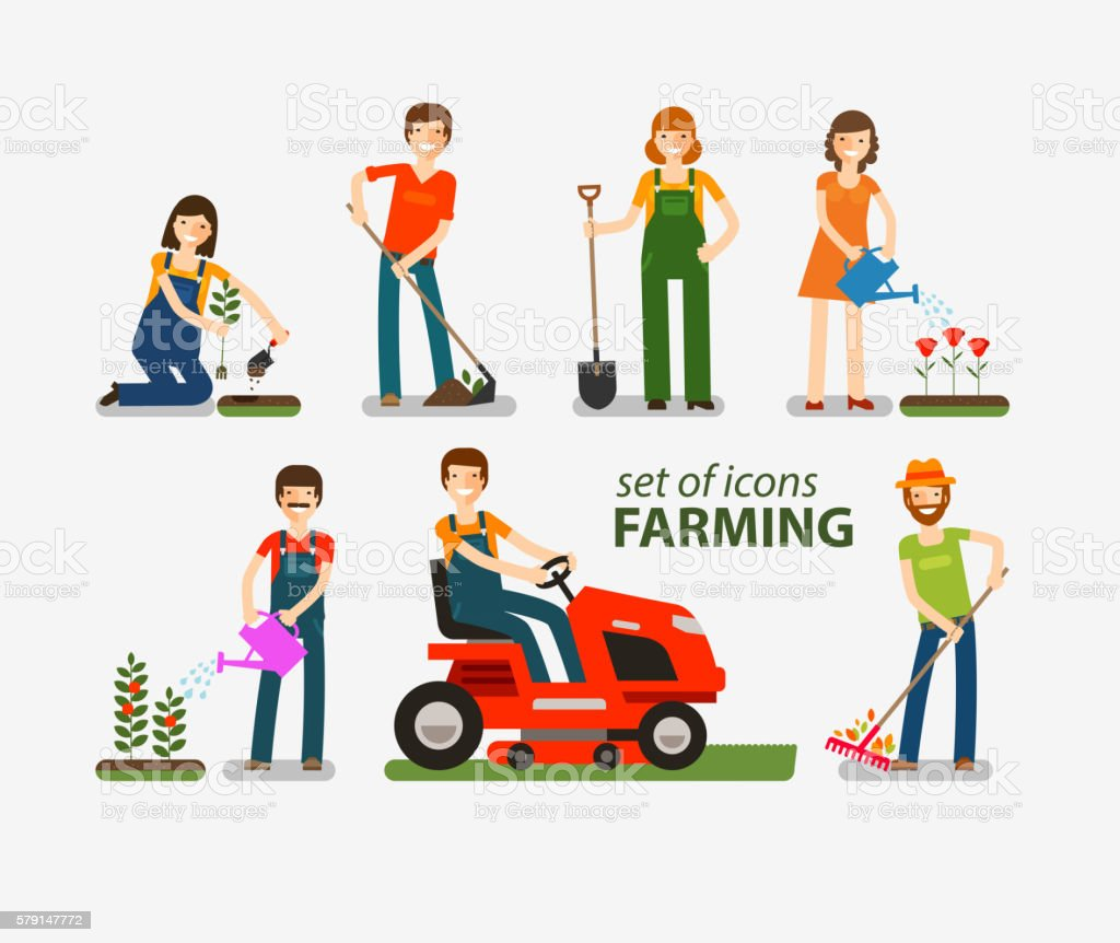 Farming and gardening set of icons. People at work on vector art illustration