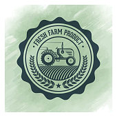 Vector farming badge design over watercolor background.