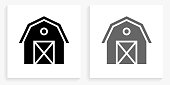 Farming Barn Black and White Square Icon. This 100% royalty free vector illustration is featuring the square button with a drop shadow and the main icon is depicted in black and in grey for a roll-over effect.