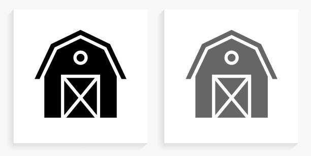 Farming Barn Black and White Square Icon vector art illustration