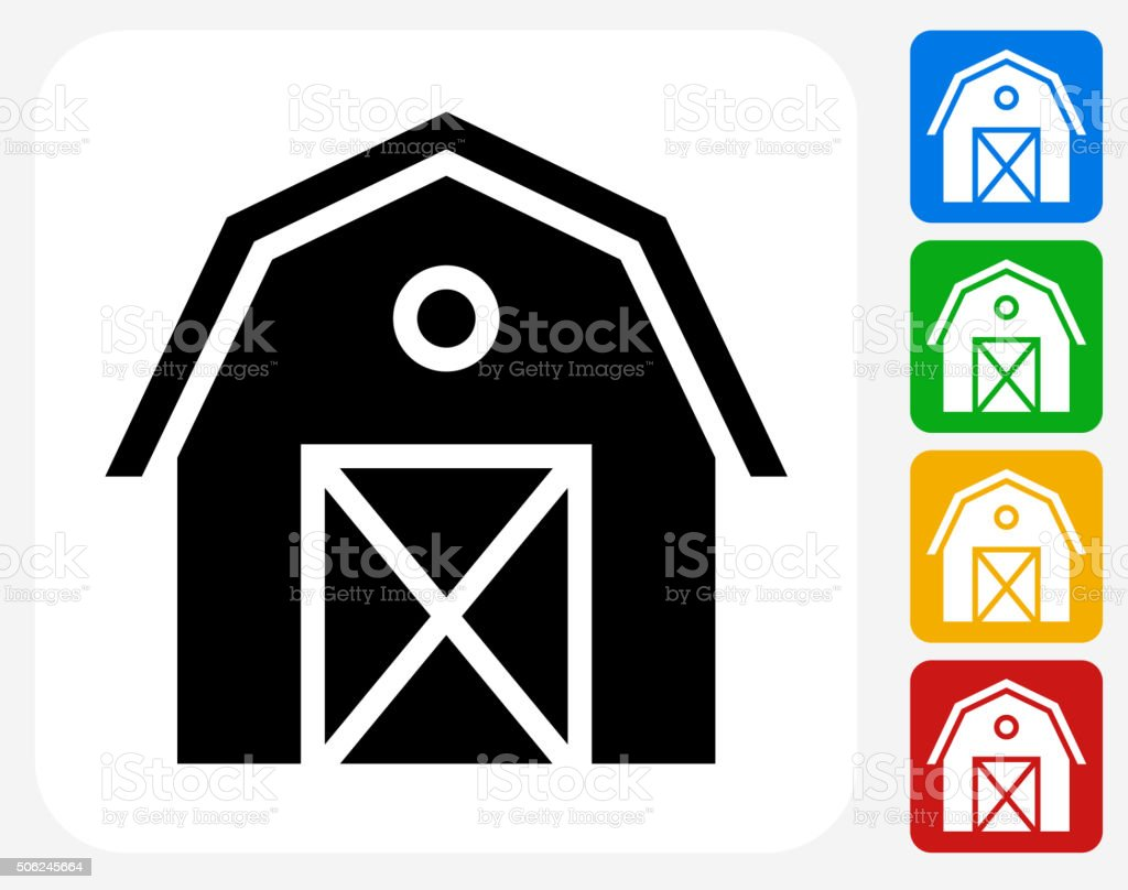 Farming Barn Icon Flat Graphic Design vector art illustration
