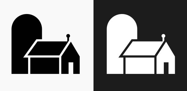 farming barn icon on black and white vector backgrounds - clip art of a black and white barn stock illustrations, clip art, cartoons, & icons