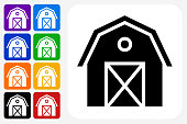 Farming Barn Icon Square Button Set. The icon is in black on a white square with rounded corners. The are eight alternative button options on the left in purple, blue, navy, green, orange, yellow, black and red colors. The icon is in white against these vibrant backgrounds. The illustration is flat and will work well both online and in print.