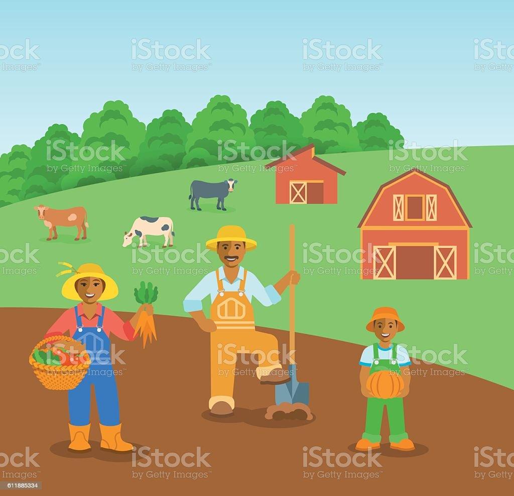 Farming black family in farm field flat vector background - ilustração de arte em vetor