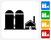 Farming Building Icon. This 100% royalty free vector illustration features the main icon pictured in black inside a white square. The alternative color options in blue, green, yellow and red are on the right of the icon and are arranged in a vertical column.
