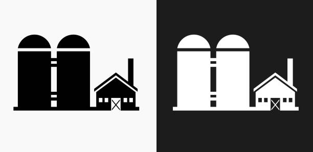 farming building icon on black and white vector backgrounds - clip art of a black and white barn stock illustrations, clip art, cartoons, & icons
