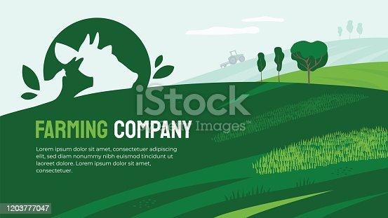 istock Farming company illustration with farm animals 1203777047