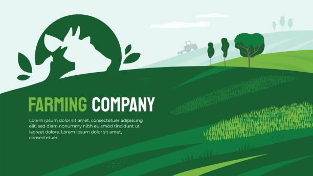Farming company illustration with farm animals – artystyczna grafika wektorowa