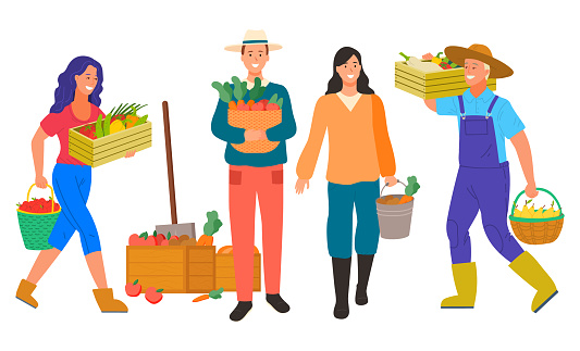 Farming Farmer, Man and Woman with Vegetables