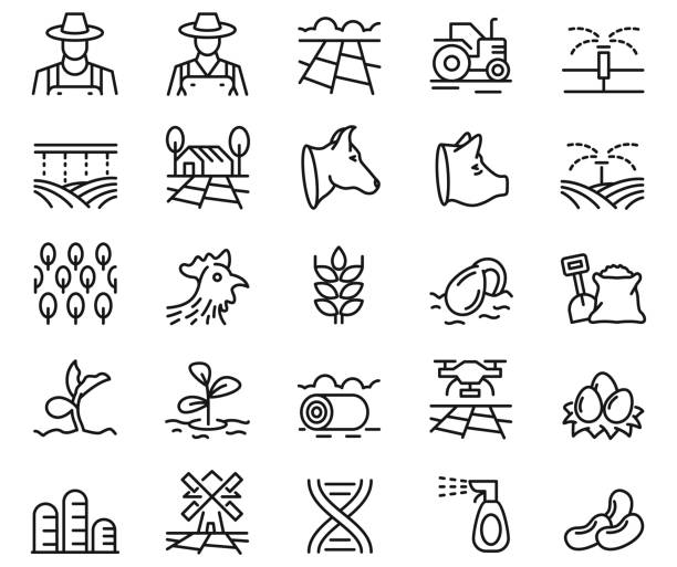 Farming icon set Farming icon set organic farm stock illustrations