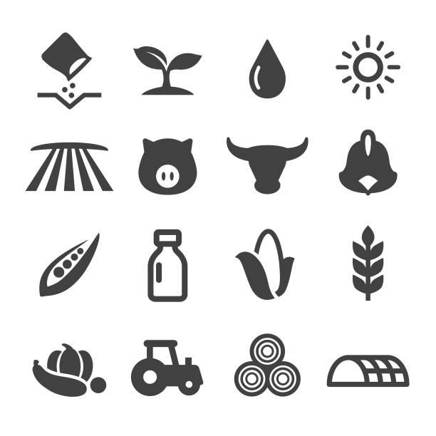 Farming Icons - Acme Series Farming, Agriculture, sowing, harvesting, corn crop stock illustrations