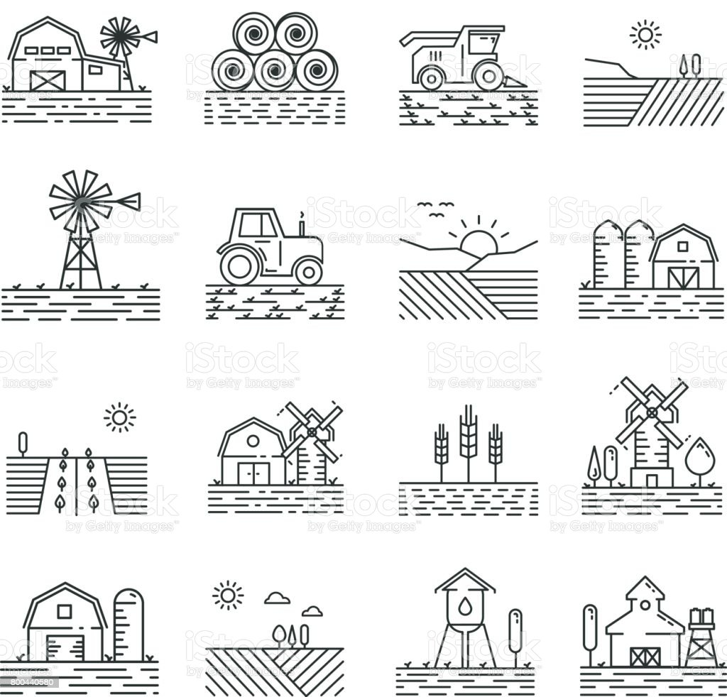 Farming icons in a thin linear style vector art illustration