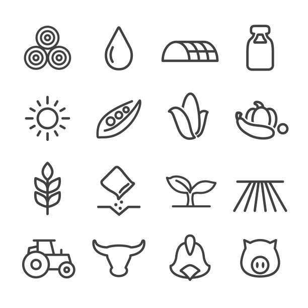 Farming Icons - Line Series Farming, Agriculture, corn crop stock illustrations