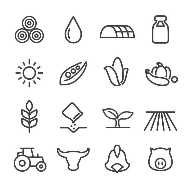 ilustrações, clipart, desenhos animados e ícones de ícones de agricultura - série de linha - corn farm