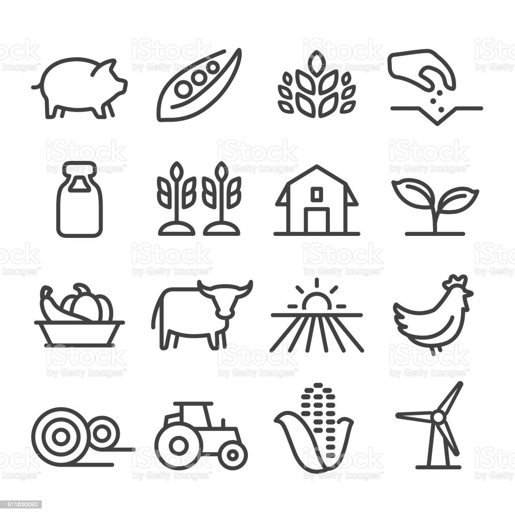 Farming Icons - Line Series vector art illustration