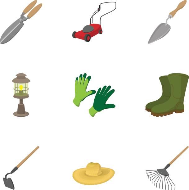 Farming icons set, cartoon style Farming icons set. Cartoon illustration of 9 farming vector icons for web garden hoe stock illustrations