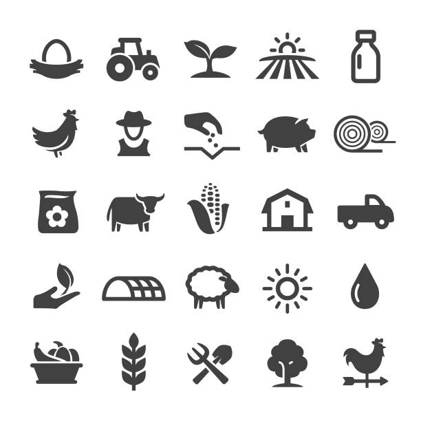 Farming Icons - Smart Series Farming, Agriculture, harvesting stock illustrations