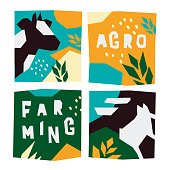 Vector icons countryside with cow and pig. Illustrations for agricultural company with farm animals. Template for booklet or cover book with farm animals. Cut paper design