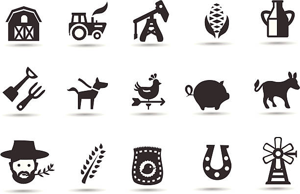 farming icons - clip art of a black and white barn stock illustrations, clip art, cartoons, & icons