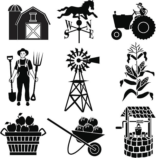 farming icons Vector icons with a farming theme. weather vane stock illustrations