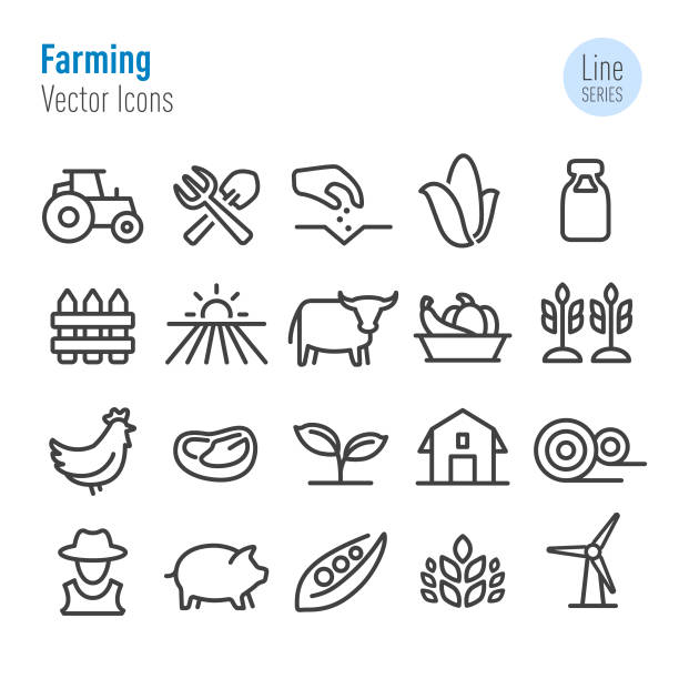Farming Icons - Vector Line Series Farming, Agriculture, farmer stock illustrations