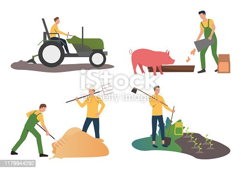 Farming illustration set. Farmers driving tractor, feeding pig, gathering hay with fork. Agriculture concept. Vector illustration for posters, presentations, landing pages