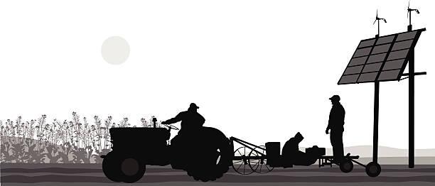 bildbanksillustrationer, clip art samt tecknat material och ikoner med farming labor planting - traktor pulling