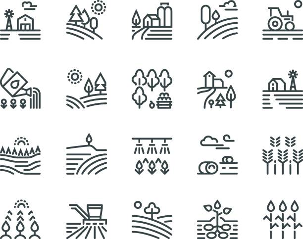 Farming landscape line icons. Rural houses, planting vegetables and wheat fields, cultivated crops. Agriculture pictograms Farming landscape line icons. Rural houses, planting vegetables and wheat fields, cultivated crops. Agriculture vector pictograms cultivated land stock illustrations