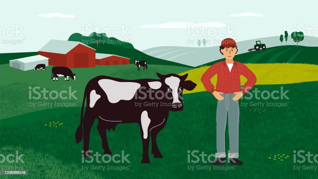 Farming Landscape With Farmer And Cows Stock Illustration Download Image Now Istock