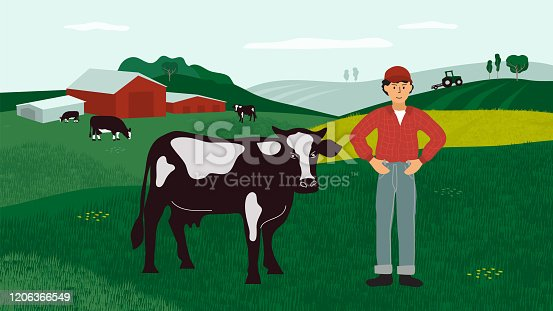 Agricultural landscape with farmer, cows and tractor on field. Farm land with cattle in pasture. Background for agriculture, farming, livestock or dairy company. Vector illustration for flyer, banner.