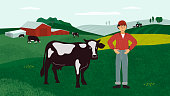 istock Farming landscape with farmer and cows 1206366549