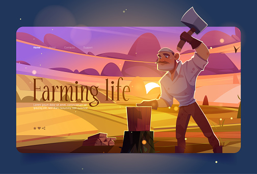 Farming life banner with man chopping wood