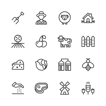 Farming Line Icons. Editable Stroke. Pixel Perfect. For Mobile and Web. Contains such icons as Farm, Agriculture, Field, Barn, Animal, Tractor, Vegetable, Fruit, Ecology.
