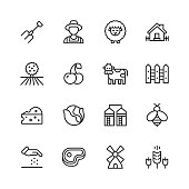 16 Farming Outline Icons.